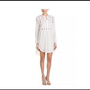 Sandro Rebella Linen Shirt Dress with Lace Detail